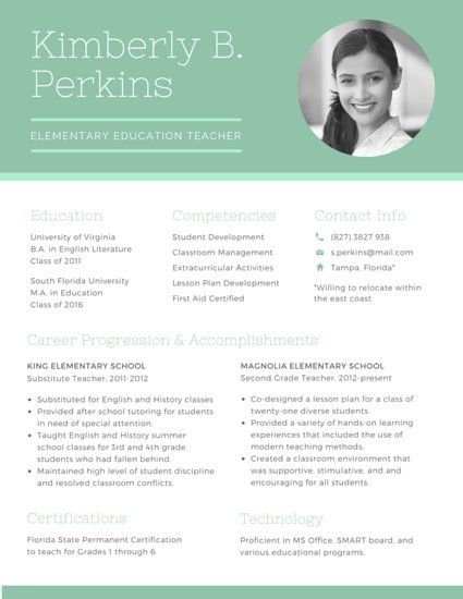 Green Elementary Educator Résumé Big Girl Job Pinterest - resume with picture