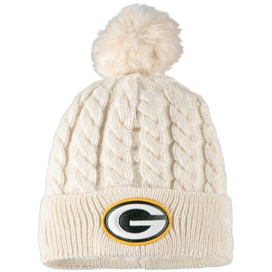 2c3eb1a4c5c Women s Green Bay Packers New Era Cream Walcott Cuffed Knit Hat with ...