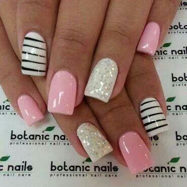 Striped glitter pink nails via botanic nails