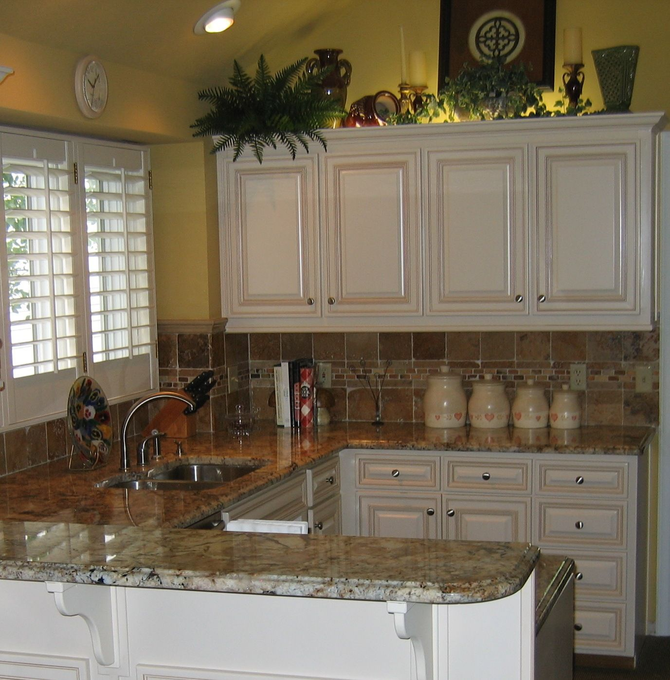 Reface, maple biscuit with glaze, granite tops, tile backsplash ...