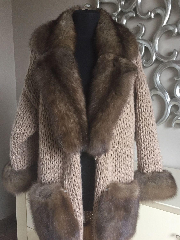 Купить Вязаное пальто-кардиган с соболем. - мех, мех натуральный, мех  соболя, соболь 86046fdb921