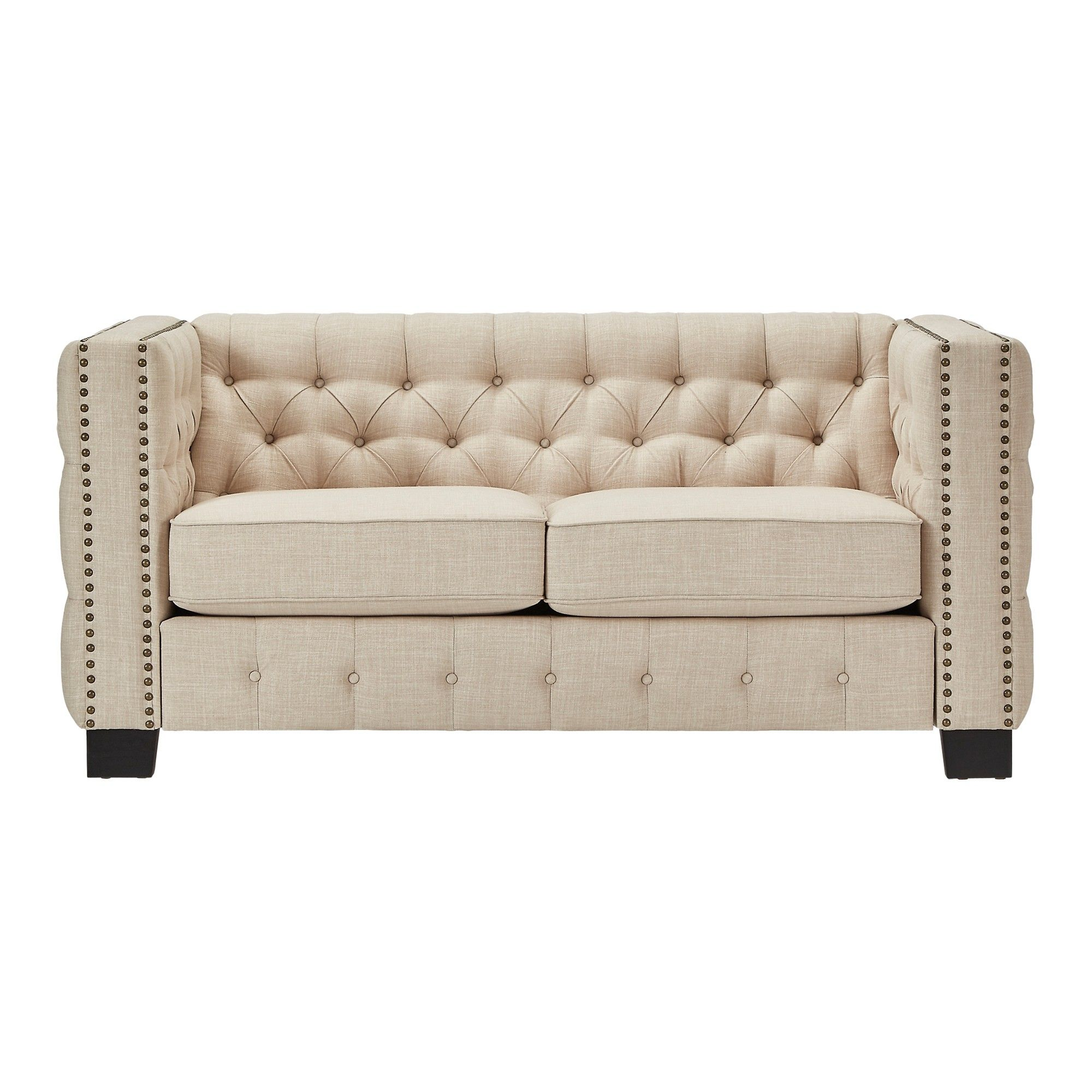 Darlington Button Tufted Loveseat - Oatmeal - Inspire Q, New Oat