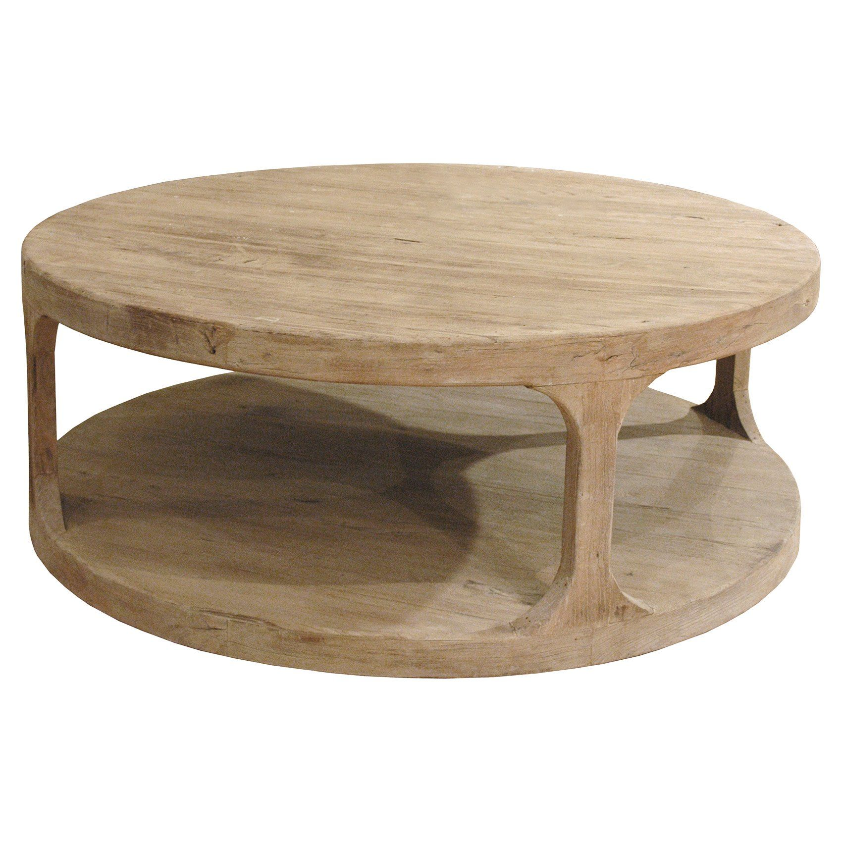 Sian Rustic Lodge Brown Pine Wood Round Coffee Table By Kathy
