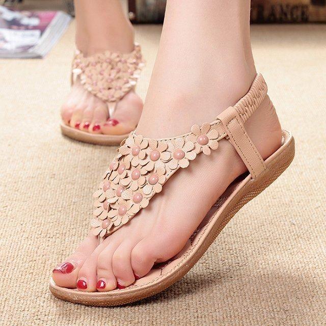 LAKESHI Women Sandals Summer Women Shoes 2018 Fashion Flip Flops Women Flat  Sandals With Flowers Bohemian Ladies Flat Shoes 22f575a8d58b