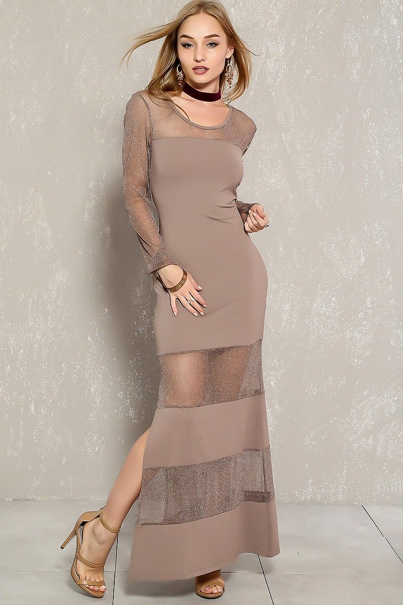 Sexy mocha shimmer sheer long sleeve slit accent party maxi dress