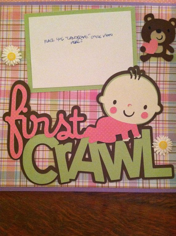 Baby Girl First Crawl Pre Made 12 x 12 Double Page Layout Babies - double first