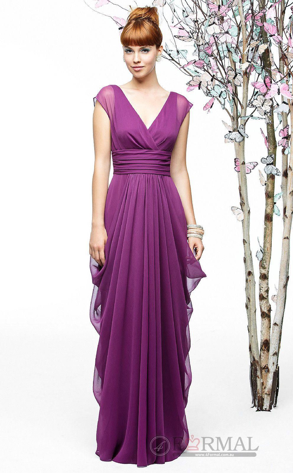 Elegant With Sleeves V-Neck Chiffon Long Bridesmaid Formal Dress ...