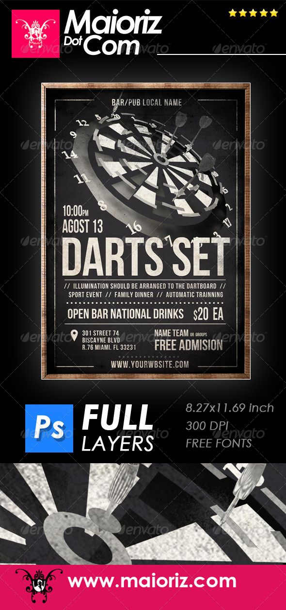 Vintage Darts Flyer Darts, Creative design and Ecommerce logo - dinner flyer