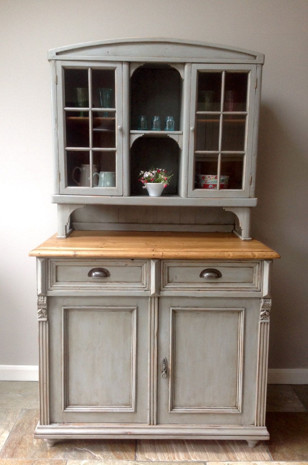 Victorian Kitchen Furniture Antique Victorian Country French Rustic Painted Pine Grey Glazed