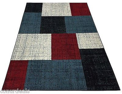 Rugs Area Rug Carpet Black White Red Blue Square Design Rugs 5x7 5x8