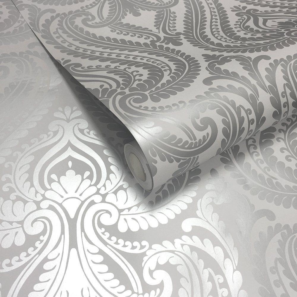 Shimmer Damask Wallpaper Soft Grey, Silver (ILW980043