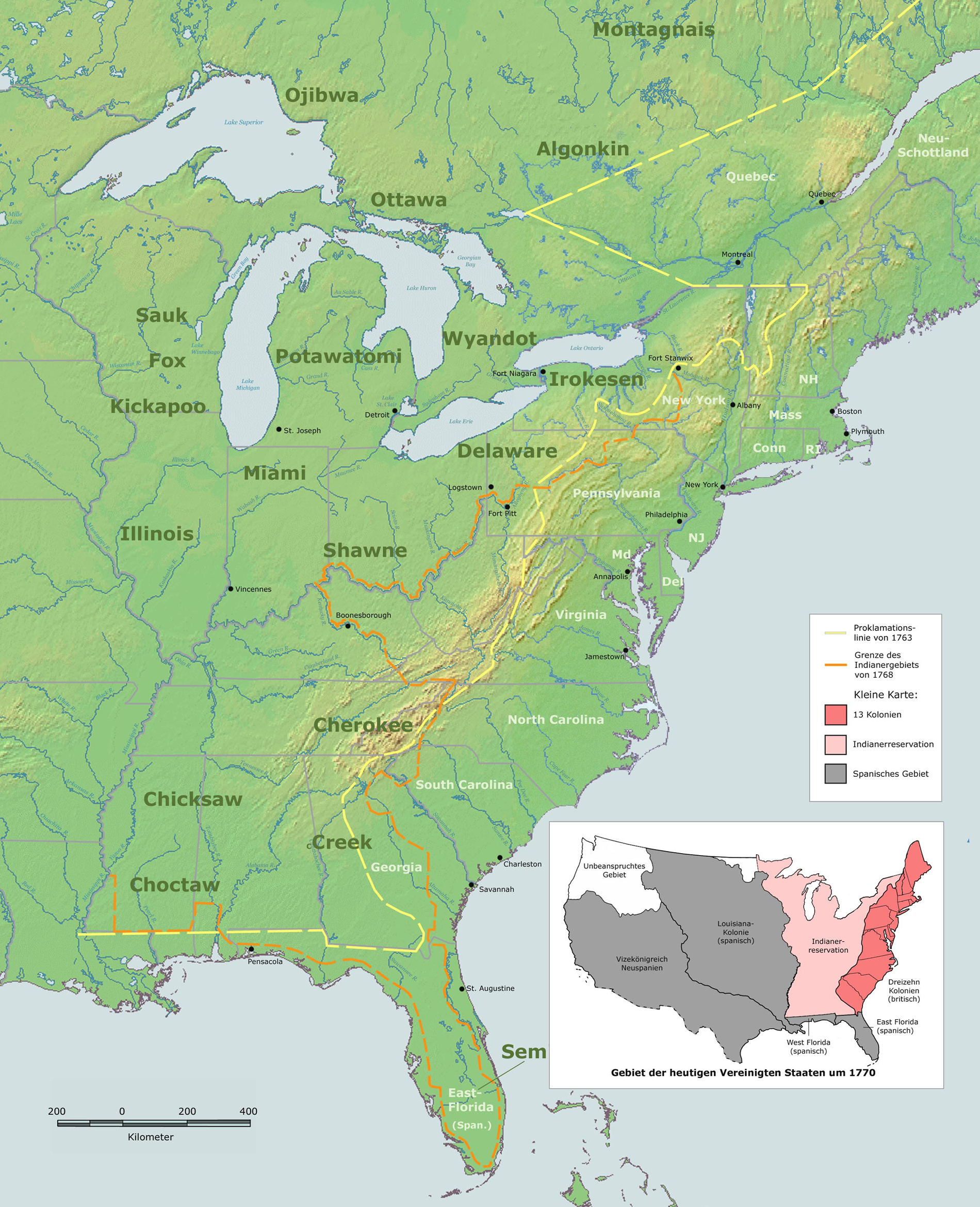 Royal Proclamation Of  British Proclamation That Established - Map of american colonies