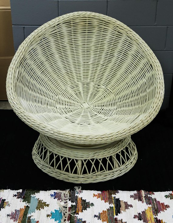 swivel chair not staying up office la z boy shipping free vintage wicker rattan papasan with footstool local pick c