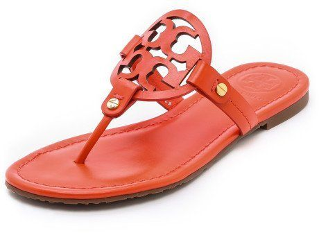 28e510911fd5 Ballet Flat · Tory Burch Logo Miller Leather Sandals-Orange- Size 7.5