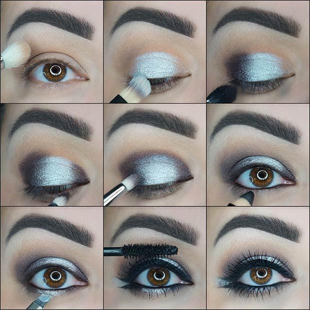 21 Glamorous Smokey Eye Tutorials Silver Smokey Eye Prom Eye