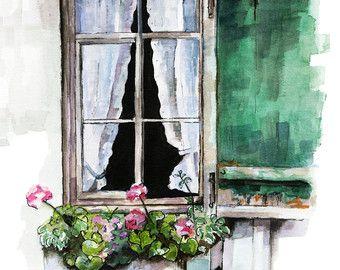 Window Painting Print From Original Watercolor Painting Window