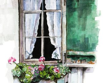 Window Painting Print From Original Watercolor Painting Window
