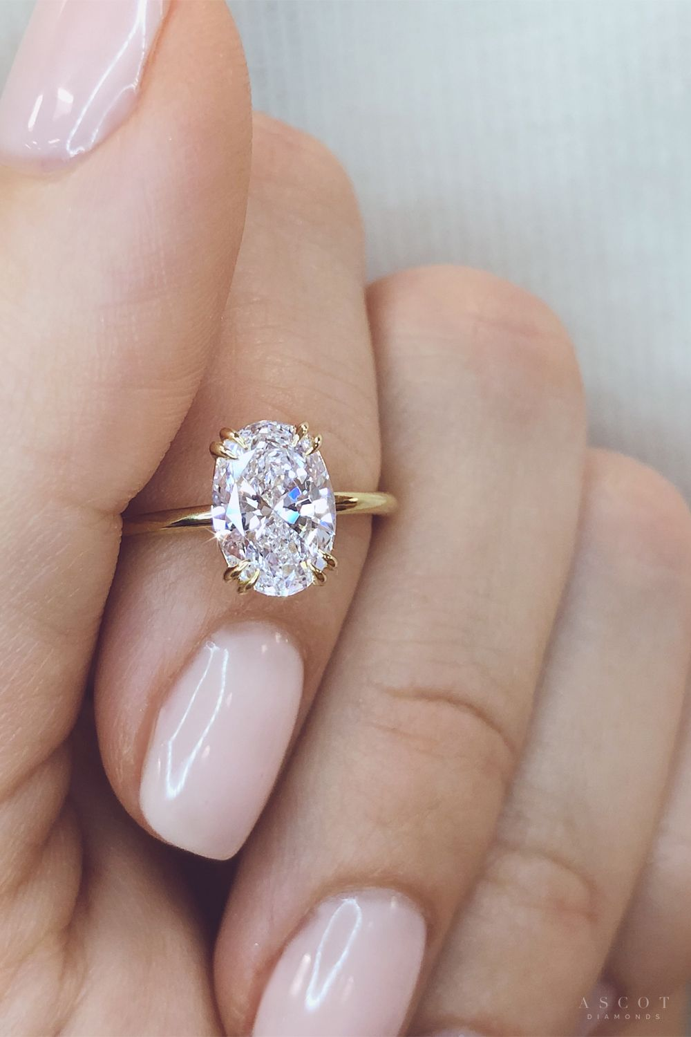 9800 Oval Engagement Ring With Yellow Gold Thin Band And Hidden Halo In 2020 Engagement Rings Affordable Yellow Gold Engagement Ring Oval Custom Engagement Ring