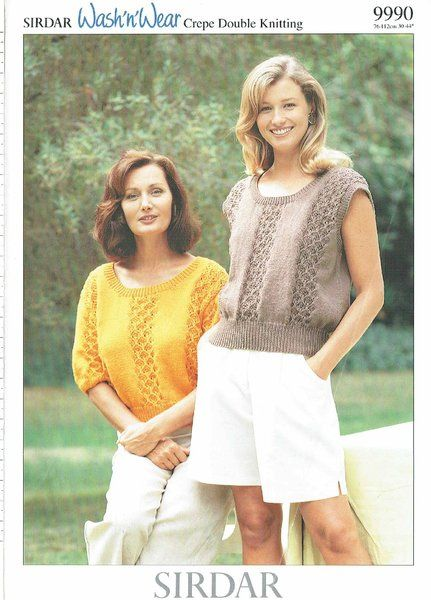 Sirdar 9990 ladies summer tops vintage knitting pattern