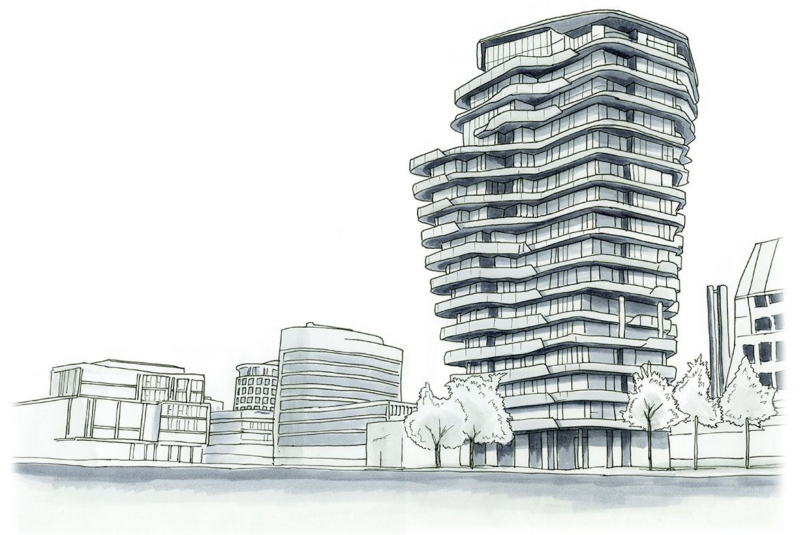 Marco Polo Tower Marco Polo Building Sketch | Watercolor Architecture, Building Sketch, Nature Sketch