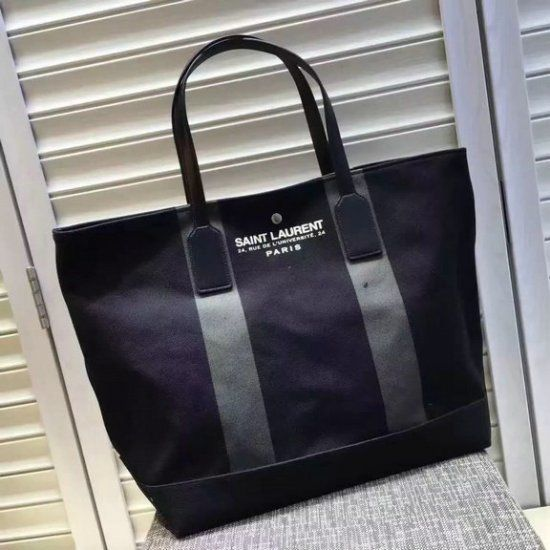 4107e6a15c 2016 A/W YSL Beach Shopping East/West Tote Bag in Black and Khaki Canvas  and Black Leather