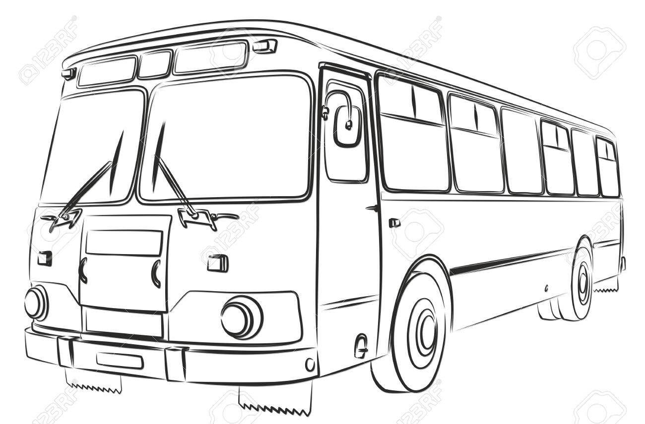 Sketch of the big passenger old bus. , SPONSORED, big,
