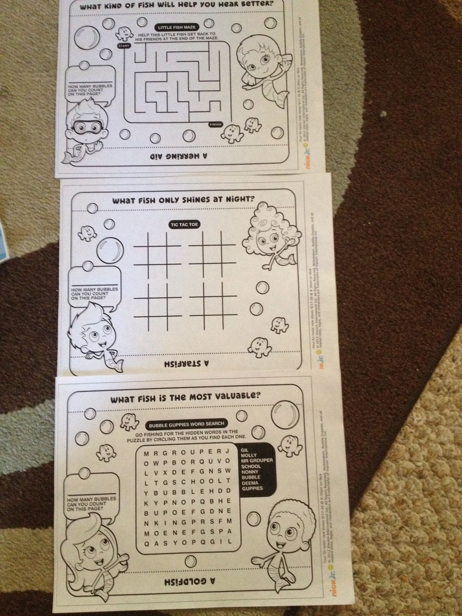 Bubble guppie fun placemats | Bubble guppies party ideas | Pinterest