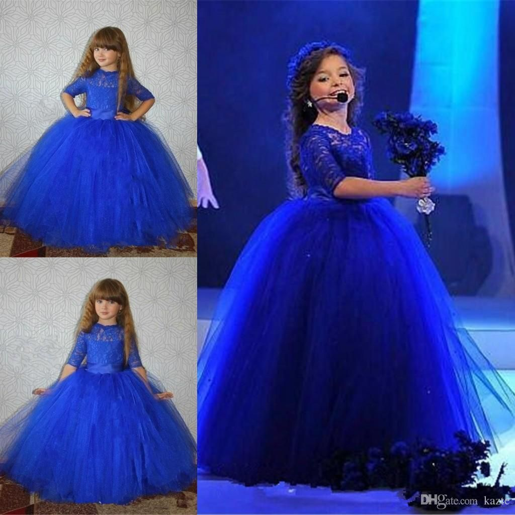 4bc9532f9 Royal Blue Ball Gown Flower Girl Dresses Half Sleeve Lace Appliques ...