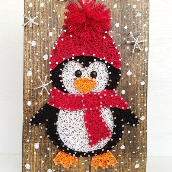merry penguin string art