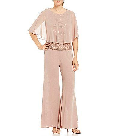 7397b002eda SL Fashions Sequin Lace Capelet 3Piece Pant Set  Dillards