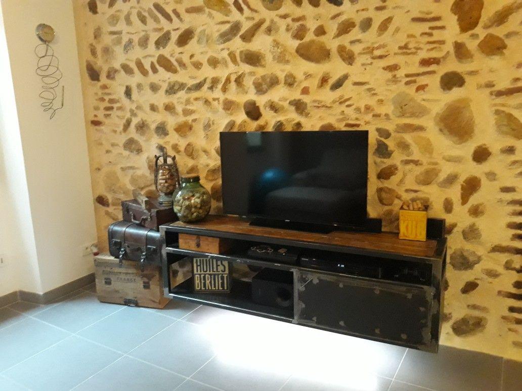 Meuble Tv Fer Vernis Et Meul Fixation Murales Cach Es Dessus En  # Meuble Tele Fixation