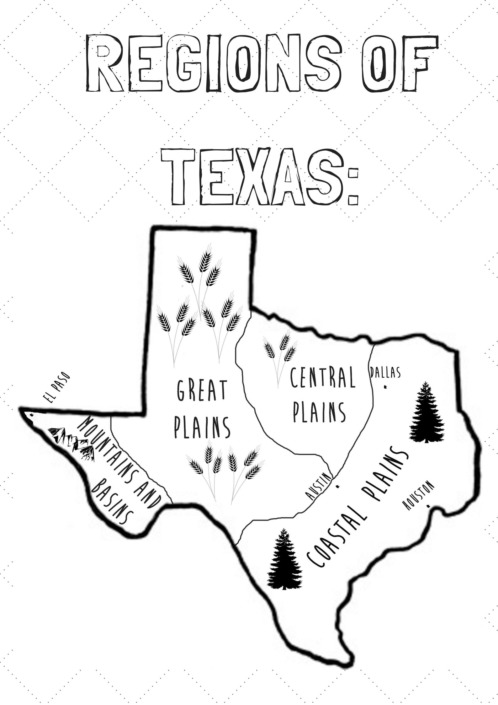 Texas History Regions Poster