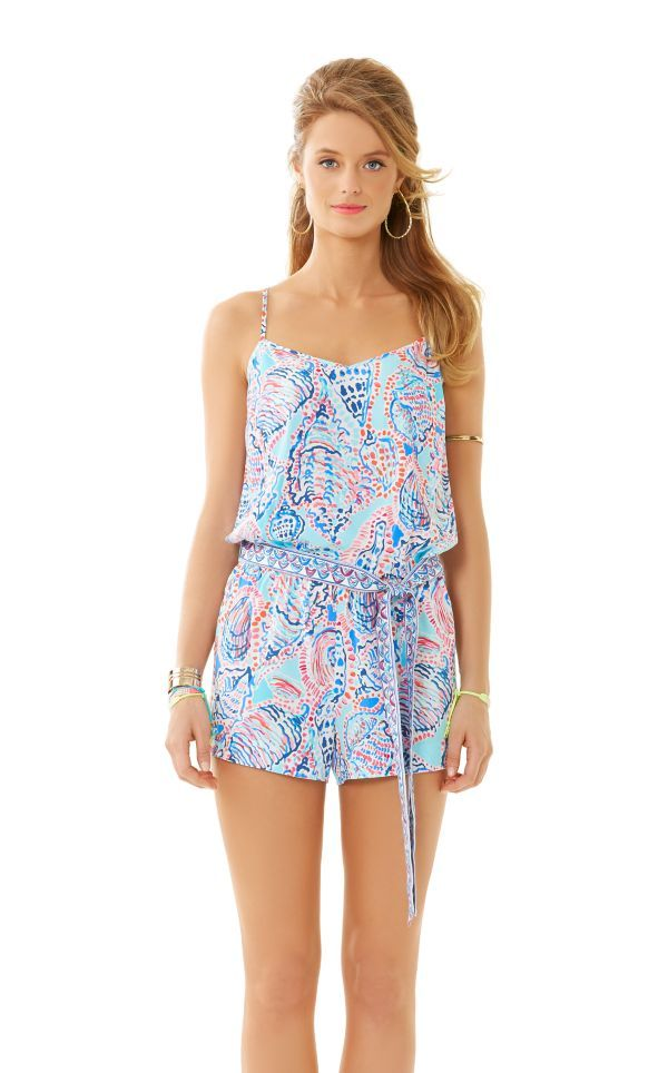 d93e1e481c3 Dusk Romper - Lilly Pulitzer Multi Shell Me About It Engineered Romper