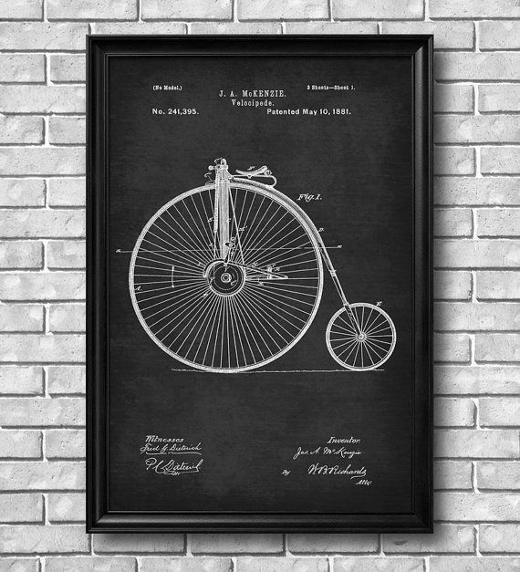 """Vintage 1881 """"Velocipede"""" Patent Drawing, Retro Art Print Poster, Wall Art, Home Decor, Bicycle, Bike, Cycling, Gift Idea"""
