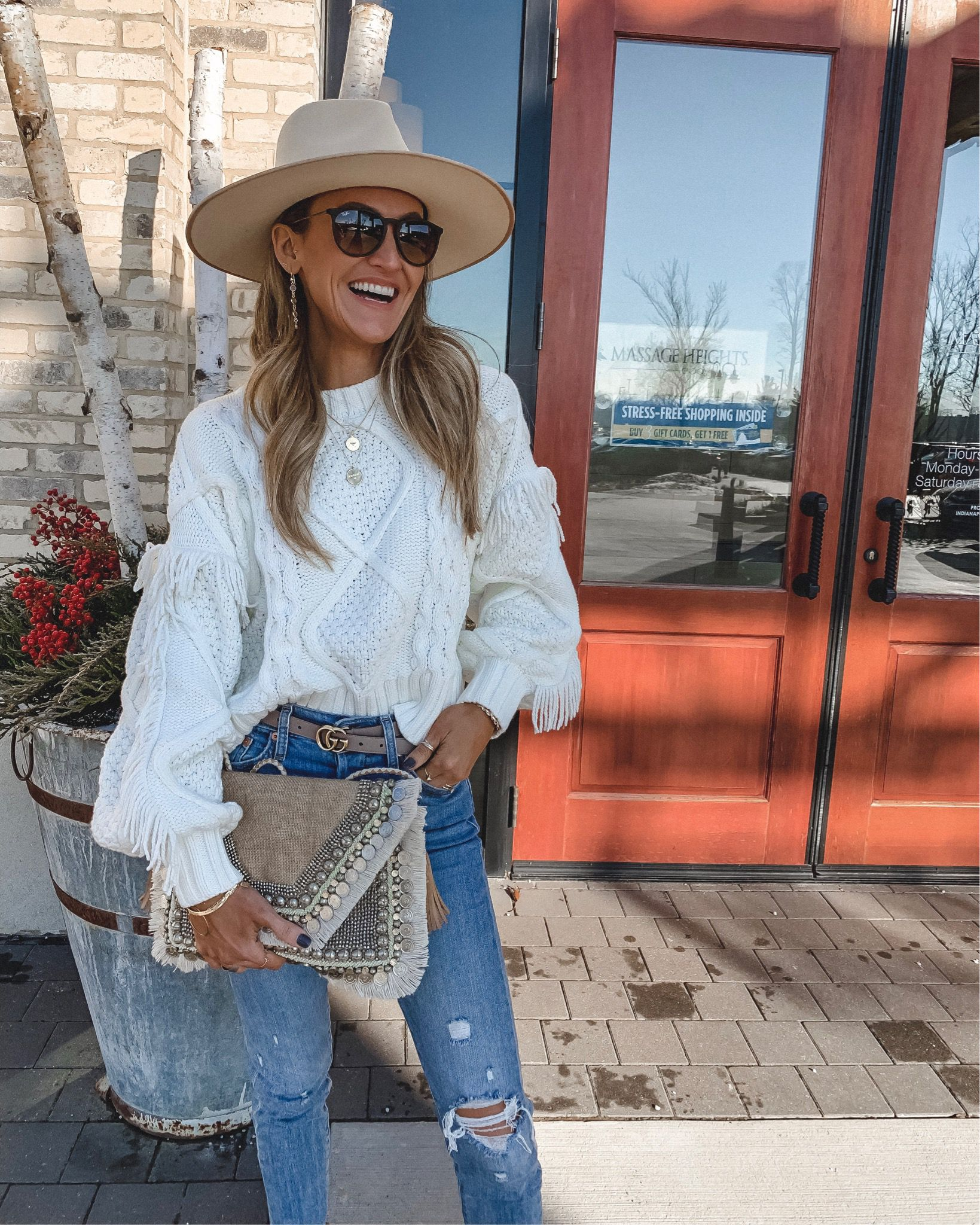 d5ee5be1435 White cable knit fringe sweater