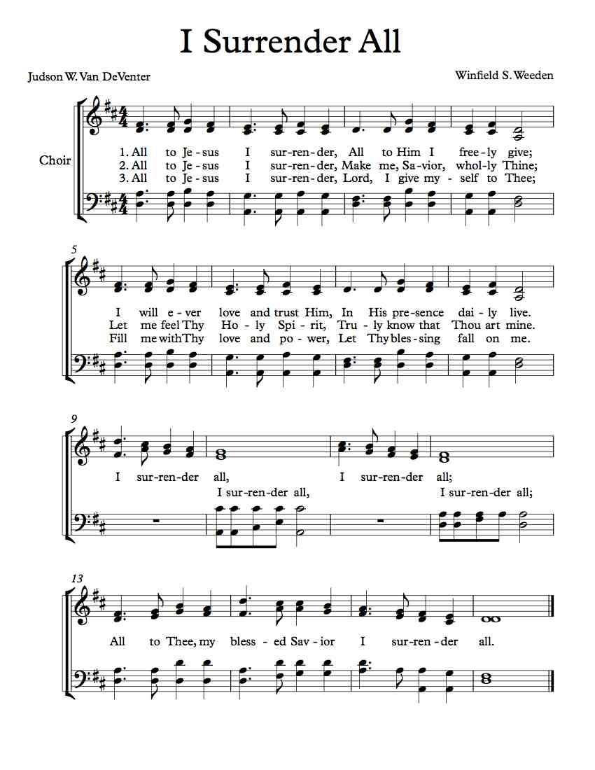 Free choir sheet music and vocal parts i surrender all free free choir sheet music and vocal parts i surrender all hexwebz Images