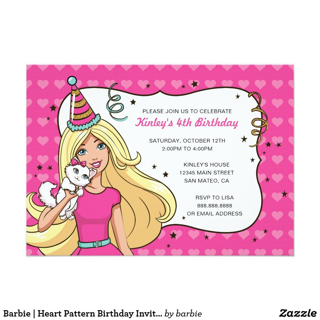 Barbie | Heart Pattern Birthday Invitation | Heart patterns