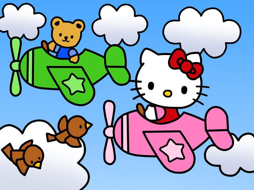 Hello Kitty On A Airplane Coloring Book By Kittykun123 Deviantart Com On Hello Kitty Pictures Hello Kitty School Hello Kitty Tattoos