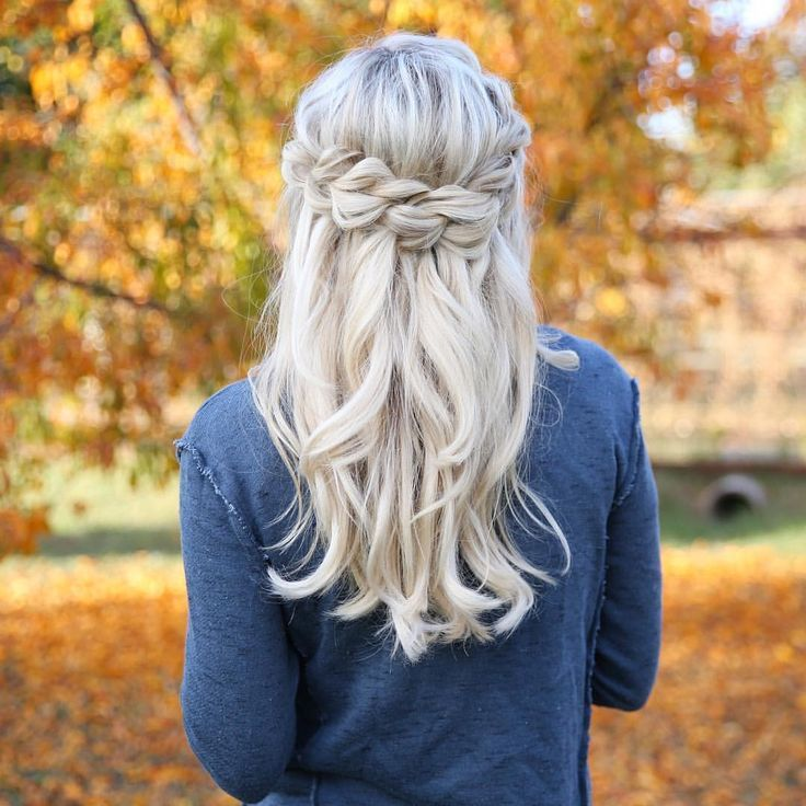 Braided Hairstyles Half Up Half Down Medium Length Hair