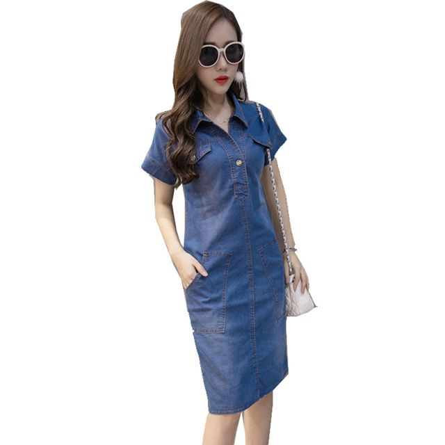904004c10a9 High Quality 2017 Summer Denim Dress Women Clothing Plus Size 3XL Women  Jeans Dress Elegant Casual