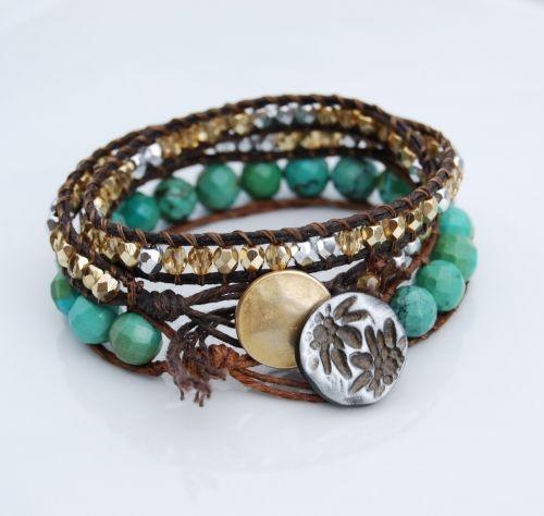 Layered waxed Irish linen bracelets.  DIY bracelet tutorial.