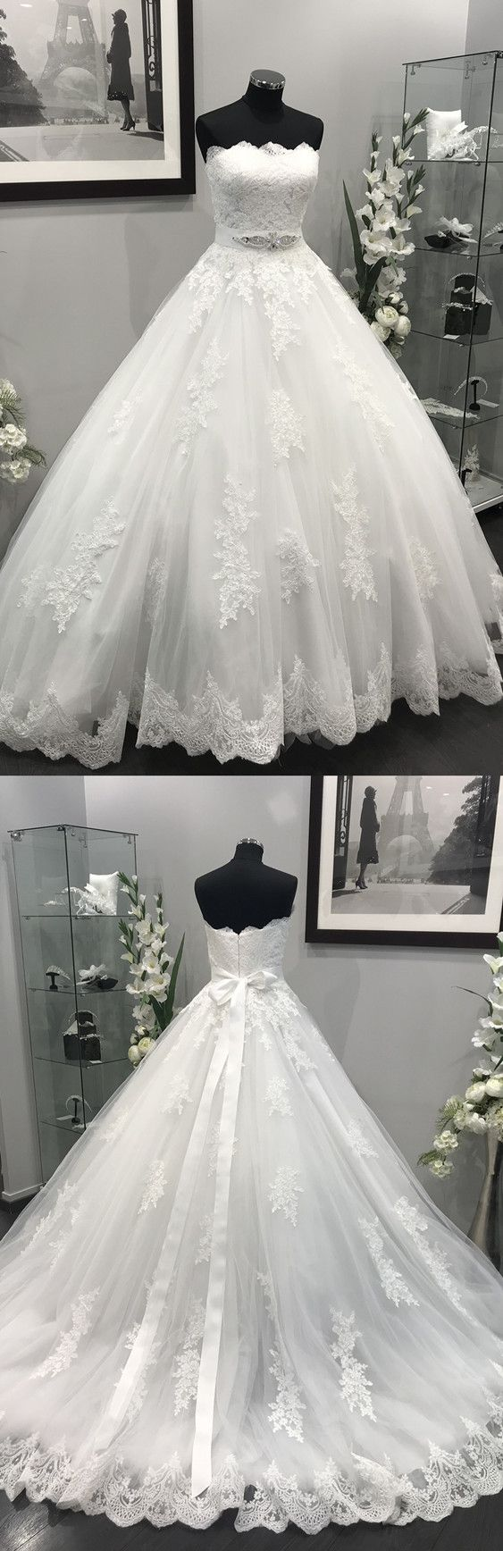 Lace appliques crystal beaded sashes tulle wedding dresses ball