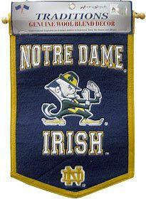 "Notre Dame Fighting Irish ""Leprechaun"" Wool 12""x18"" Mini Banner"