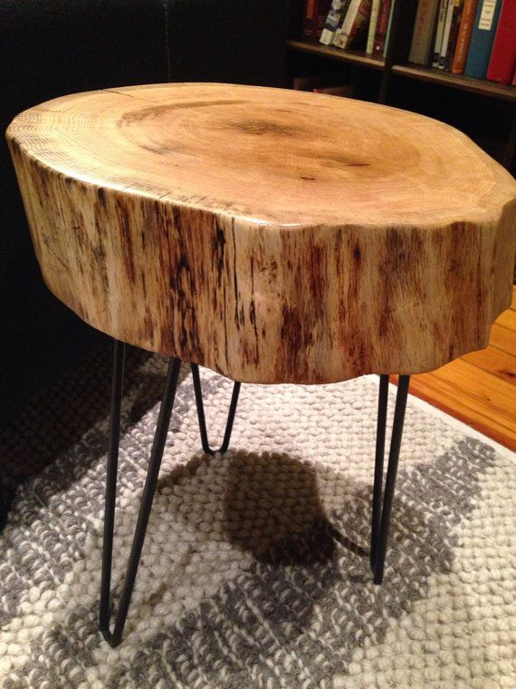 Wood Slab Log Side Table With Hairpin Legs RED OAK By OKMStumpt