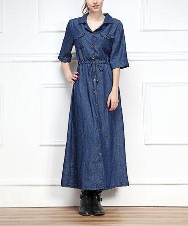 This Dark Denim Maxi Dress is perfect! #zulilyfinds