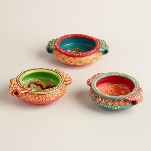 Set of 3 Hand Made and Painted Terracotta Pots