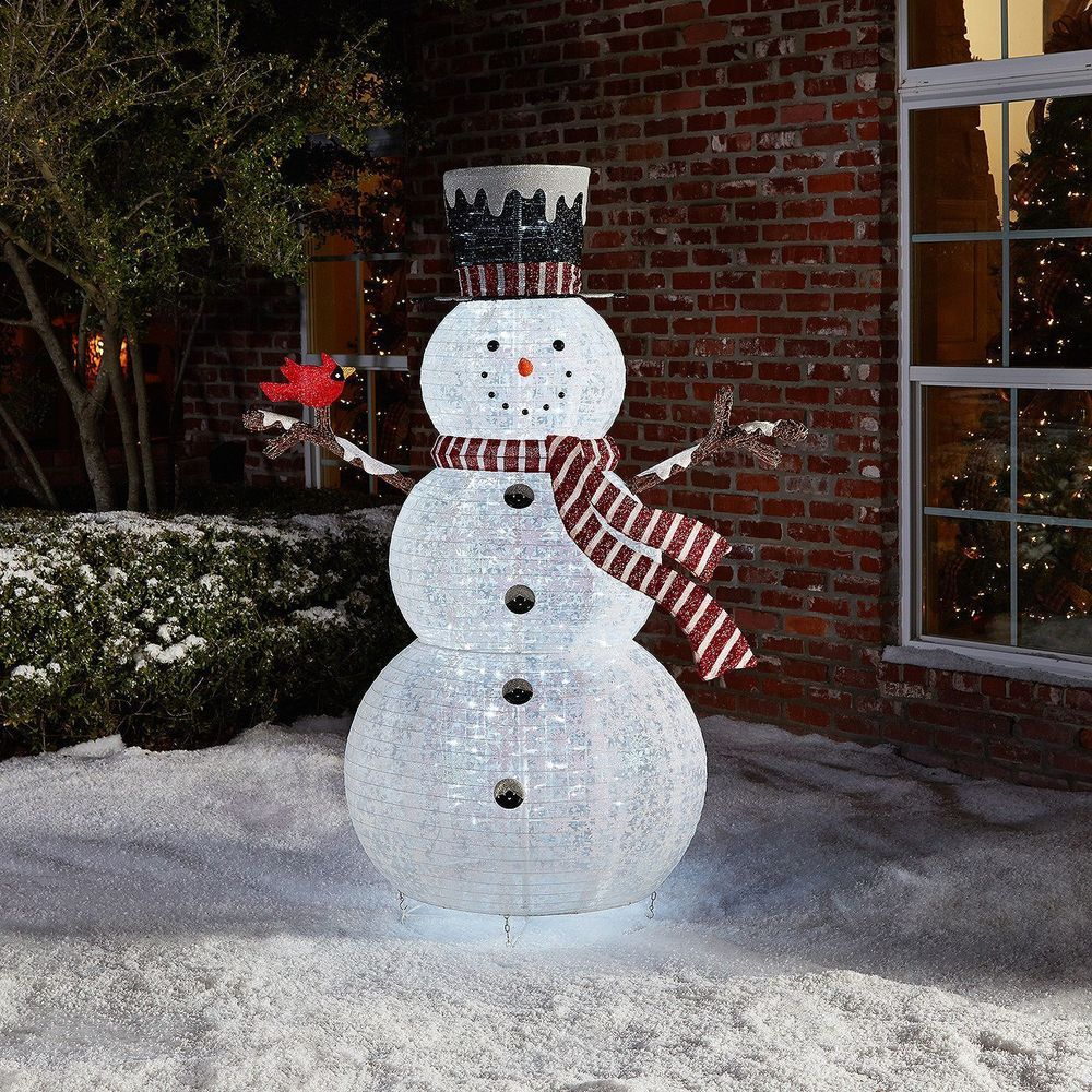 Outdoor christmas decoration pop up snowman holiday yard - Large bulb exterior christmas lights ...