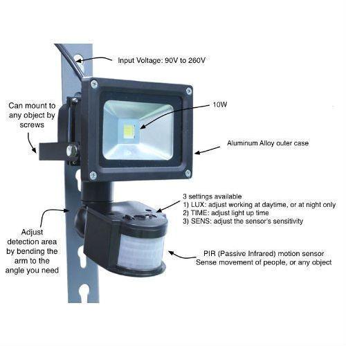 Outdoor Led Floodlight Security Light With Motion Sensor 40 Ft Detection Range Motion Sensor Lights Outdoor Security Lights Motion Sensor
