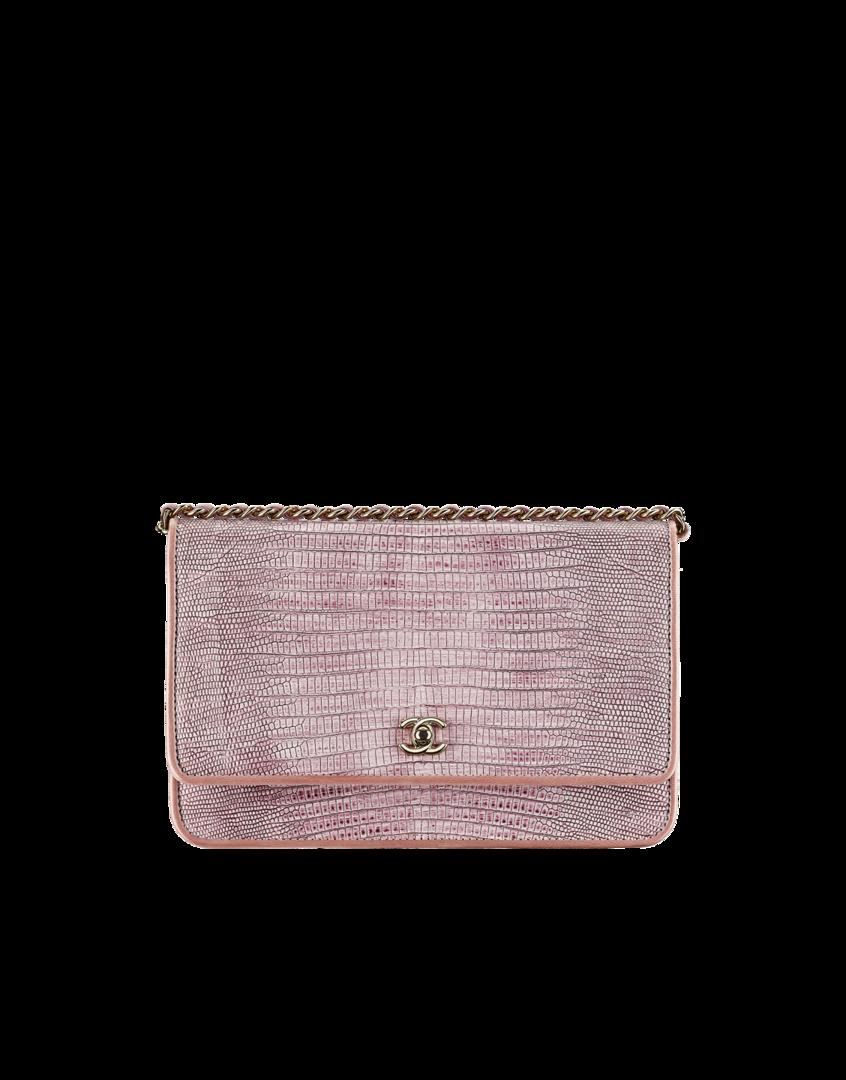 Portefeuille avec chaîne, lézard & métal doré clair-violet clair - CHANEL