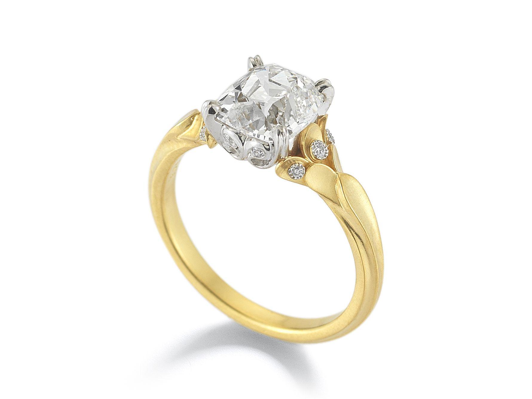 Antique Cushion Cut Diamond Classic Flora Ring, 18Kt & Platinum   McTeigue…